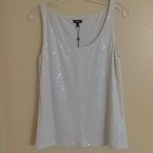 $69 TALBOTS Shimmery Sequin Tank Top Shell M